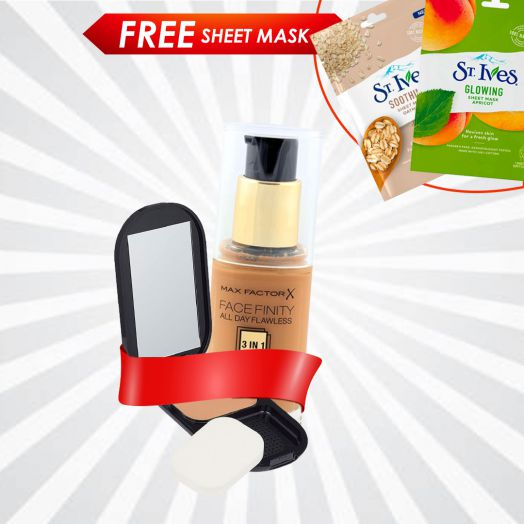 Buy Max Factor Face Compact Foundation & Liquid Foundation & Get Free Sheet Mask