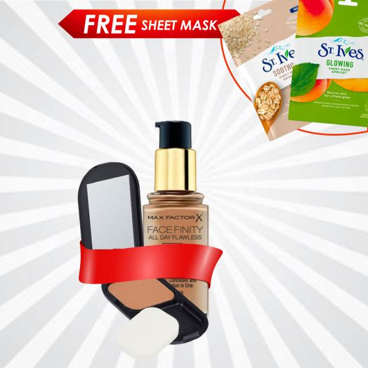 Buy Max Factor Face Liquid Foundation & Compact Foundation & Get Free Sheet Mask
